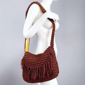 Vintage 70s Crochet Fringe Crossbody Hobo Bag